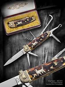 AKI 2015 Sportsman Knife with Quail and Llewellin Setter